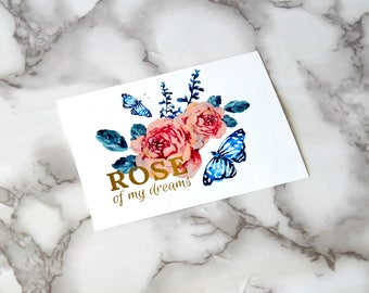 Rose Of My Dreams Blank Card, Floral Boho Postcard, Retro Card Gifts, Birthday Gifts For Wife, Wedding Card, Anniversary, Back To School