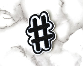 ONE Cool Hash Tag Iron On Patch, Cute Boho Fabric Patch, Embroidered Patch, Free Spirit, Funny Fashion Birthday Gift For Her Under 10