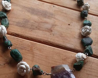 Amethyst, Turquoise, and White Howlite Gemstone Necklace