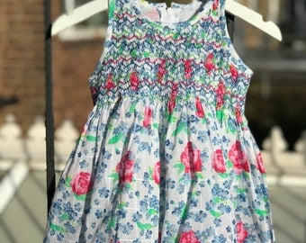Handsmocked  dress, Floral print dress, Pure cotton dress, Girls dress , Size 1-2 years, 2-3 years, 4-5 years, 5-6 years, 6-7 years