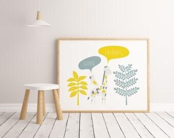 Lamina Good Friends, Lamina decorativa, Cuadros decorativos, laminas infantiles, Impresión digital