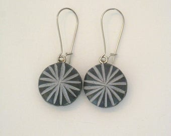 Double organic 2 in 1 earring pattern polymer clay