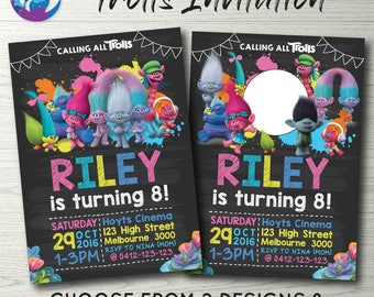 Trolls Blackboard Invitation, Trolls Invitation, Trolls Birthday Invitation, Trolls Party Invitation, Trolls Chalkboard, Trolls Photo Invite