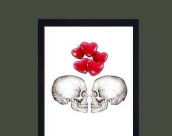 Skull print skull wall art minimalist print monochrome gift for girlfriend gift for boyfriend valentines day anniversary gift steam punked