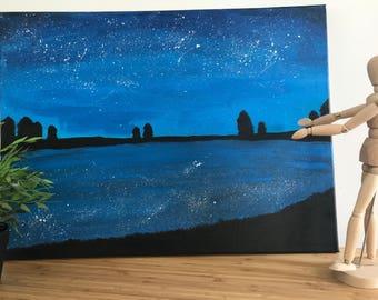 Original Night Sky Painting - Tharushi by Tharushi