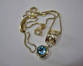 Genuine Blue Topaz Gold Vermeil Sterling Silver Necklace