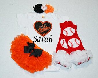 orioles girl - baltimore orioles baby girl outfit - baby girl baltimore orioles outfit - girls orioles baseball outfit - orioles baby gift