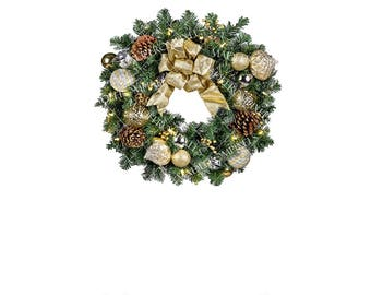 Gold Christmas Wreath Clipart commercial and personal use, wreath clipart, winter holiday clipart, christmas clipart, christmas graphics