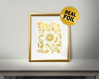 Nature Leaves, Real Gold Foil Print, Gold Wall Art, Leaves Wall Framed, Golden Leaf, Living Room Decor, Gold Leaf Print, Pattern, Sun