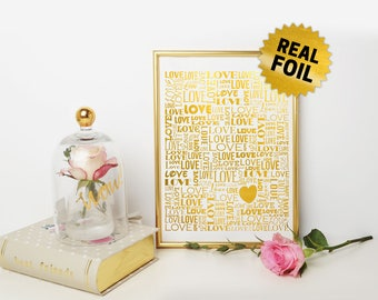 Love Words Collage, Real Foil Wall Art, Valentine Day, Home Decor, Decoration, Romantic Gift, Gift for Her, Gold Foil Print, Colors Variety