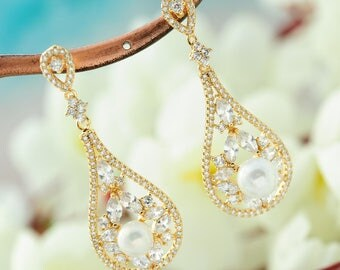 Wedding gold pearl earrings Vintage wedding earrings Bridal pearl earrings Pearl CZ earrings Pearl dangle earrings  bridal jewelry