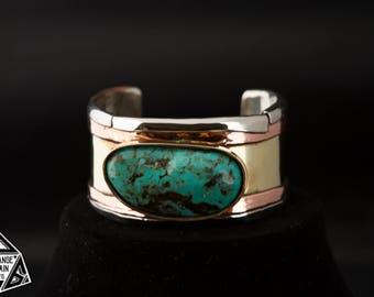 Turquoise  Cuff , Heavy Cuff , December Birthstone, Gold, Copper, Silver, Southwest Jewelry, Large Stone, Handmade Bracelet, Gypsy