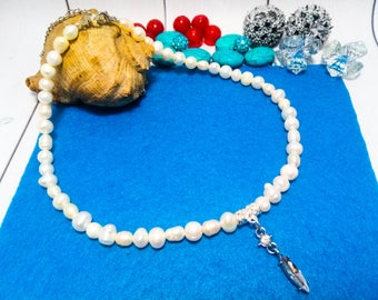 Wedding necklace White necklace White choker Pearl jewelry Natural pearl Gemstone choker Wedding choker Pearl choker Freshwater pearl