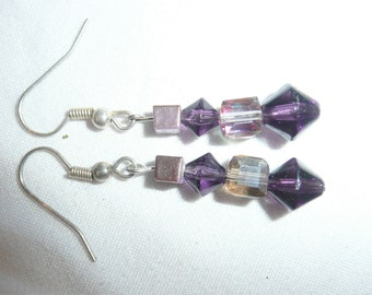 Lavender crystal and glass earrings