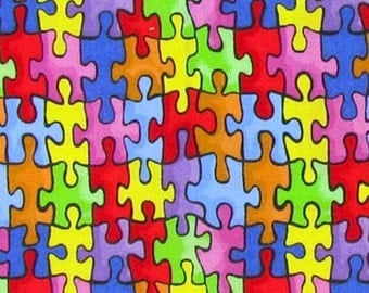 Puzzle Piece Fabric, Autism Awareness Fabric, 100% Cotton Fabric, Fabric By The Yard, Quilting Fabric, Material Online, Quilt Fabric, Cotton