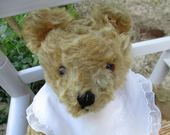 Antique Chad Valley mohair bear and straw wood, in very good condition all hinged, 36 cm old teddy bear