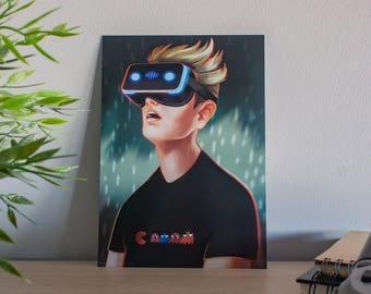 Gamer boy, pac man shirt boy, video game illustration, virtual reality, custom gift, art print, art tech geek, decor home art