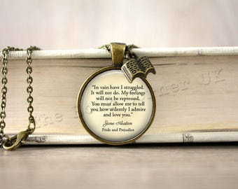 Pride and Prejudice, '...How Ardently I Admire And Love You' Jane Austen, Mr Darcy Quote Charm Necklace, Book Key Ring, Keychain