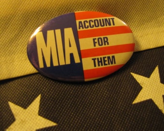 "Vintage Military Message Pin Vietnam circa 1970s ""MIA Account For Them"" Original Pin Back Button"