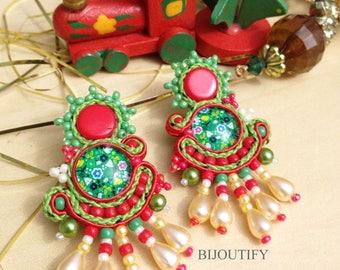 Green statement earrings Clip on earrings Red handmade jewelry screw back earrings gift Montreal Medium clips Stud earrings Noel