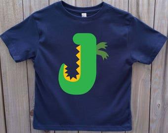 ABC Shirt, Alphabet Shirt, Dinosaur Shirt, Personalized Boy Shirt, Dinosaur Birthday, Customized Dinosaur Gift, Dinosaur Letter Shirt