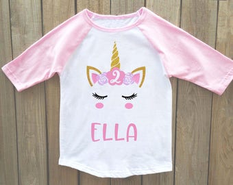 Unicorn birthday shirt, unicorn birthday, unicorn birthday party, unicorn birthday outfit, girls birthday shirt, girls 2nd birthday shirt
