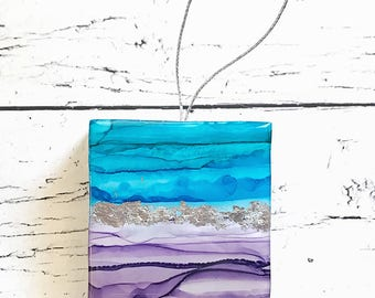 2017 Contemporary Art Christmas Ornament, Purple, Aqua, and Silver Leaf, Emotive, Intuitive Painting