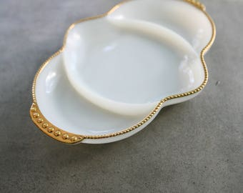 Fire King Milk Glass Divided Serving Platter with Gold Trim and Handles