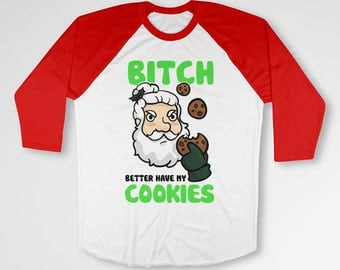 Funny Christmas Gifts Ideas For Men Holiday T Shirt Santa Claus Xmas Clothing Merry Christmas X-Mas 3/4 Sleeve Baseball Raglan Tee  TEP-530