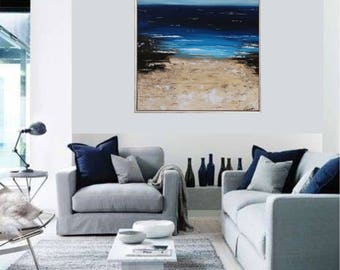 "VictoriasFineArt XXL acrylic painting ""Sea View"" 70 x 100 cm acrylic picture abstract, modern, palette knife"
