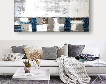 XXL acrylic painting abstract on canvas 120 x 60 cm, pallet knife, unique by VictoriasFineArt