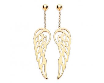 9ct Gold Guardian Angel Wings 35mm Drop Earrings