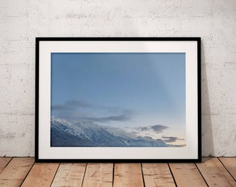 Sunrise Winter Mountain, Winter Wonderland Digital Download, Snow Mountain Printable, Blue, White, Wall Art, Nature Photography, Home Decor
