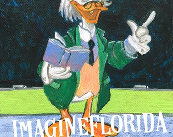 Professor Ludwig Von Drake 6x6 Acrylic on Canvas - Original Painting - Disney Inspired Artwork - Vintage Retro