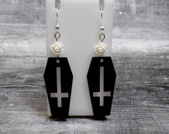 White Rose Coffin Earrings - Coffin Cross Earrings - Inverted Cross Earrings - Upside Down Cross Coffin - Free US Shipping
