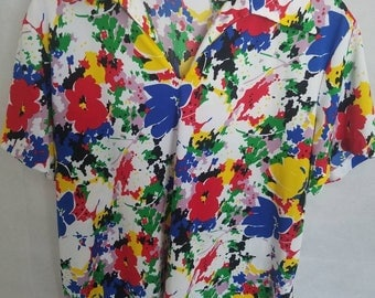 1970s Women's Carol Henry Multi Color, Polyester, Short Sleeve Shirt