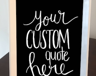Custom Quote Frame - White Frame with Black Background