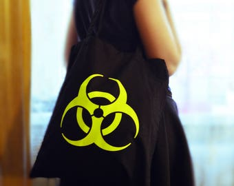 Bright Yellow Neon Biohazad post apocalyptic Bag! Great gift for fans of zombie, Mad Max and Fallout