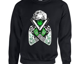 Marilyn Monroe Tattoo Guns Marijuana Leaf 420 Friendly Weed Adult Unisex Designed Sweatshirt Printed Crew Neck Sweater for Women and Men