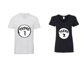 Valentine Gifts Thing 1 Thing 2 COUPLE Printed Adult V Neck Shirts Unisex VNeck T-Shirts for Men Women Matching Clothes