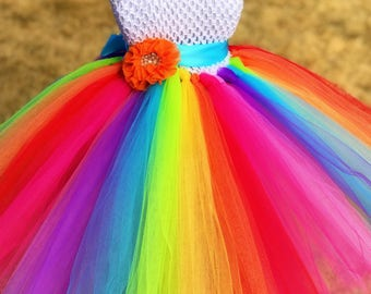 Rainbow Flower Girl Tutu Dress