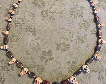 Tribal Skull Gemstone Necklace