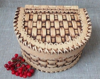 "Birch Bark Box , jewelry box , handmade wooden box , rings box , decorative box , trinket box  6.7"" x 5.7 "" x 3.9 """