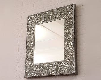 Mosaic mirror etsy glass mosaic mirror tiles small mirrors for wall hanging mirror on the wall ornate mirror wall solutioingenieria Images