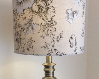 Neutral Cream Lampshade Handmade Light Shade Grey Black Floral Linen UK Bedside Lamp