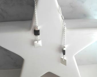 Elodie, plated Silver earrings, black Swarovski pearls