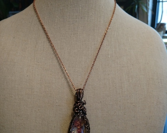 Quartz with mineral occlusions pendant necklace copper wire wrapped