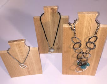 3 Necklace Stands in Raw Cedar Wood  - Jewelry Display, Necklace Display, Necklace Tree, Jewelry Stand, Necklace Holder, Hanger, Rack, Bust