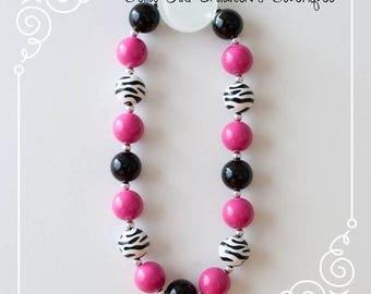 Zebra Print Necklace Bubblegum Necklace ,Cake Smash Necklace, Photo Shoot Necklace, Chunky Bubblegum Necklace, Children's Necklace