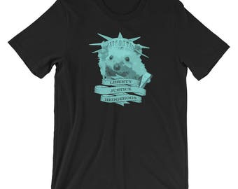 Cute Hedgehog Shirt | Liberty Justice Hedgehogs | Short-Sleeve T-Shirt of Justice by Urchin Wear | Indy Art